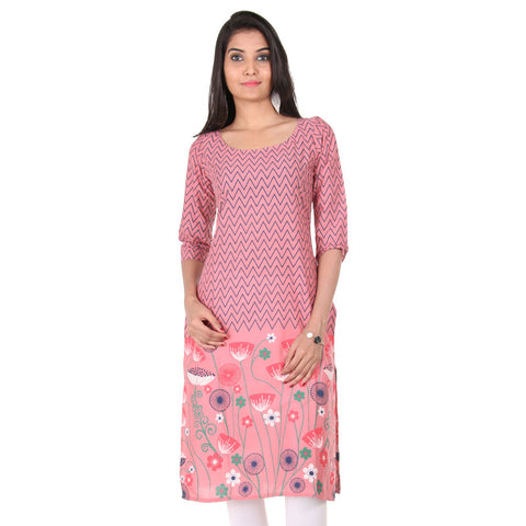 Dusty Rose Bottom Floral Motifs Kurta From eSTYLe