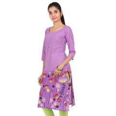 Amethyst Orchid Boat Neckline Cotton Kurta From eSTYLe