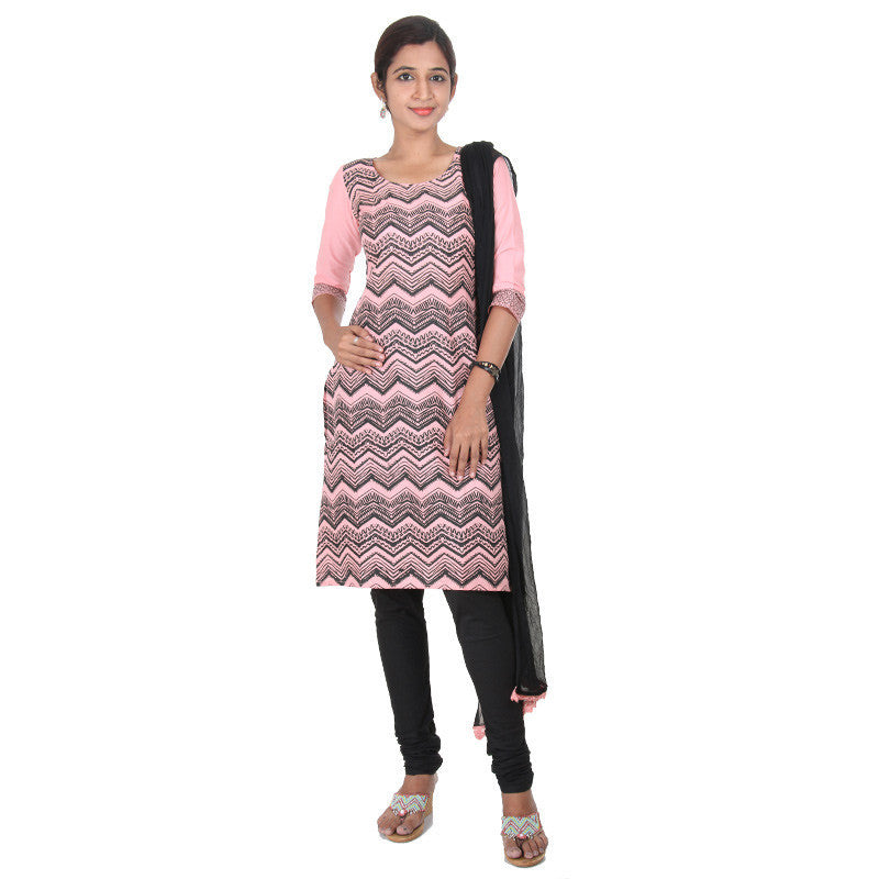 Light Pink With Black Ethnic Style Prints 3-Piece Cotton Suit From eSTYLe