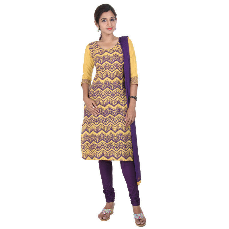 E Sty Le Golden Yellow With Dark Violet Zig Zag...