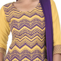 eSTYLe Golden Yellow With Dark Violet Zig-Zag Prints 3-Piece Salwar Suit
