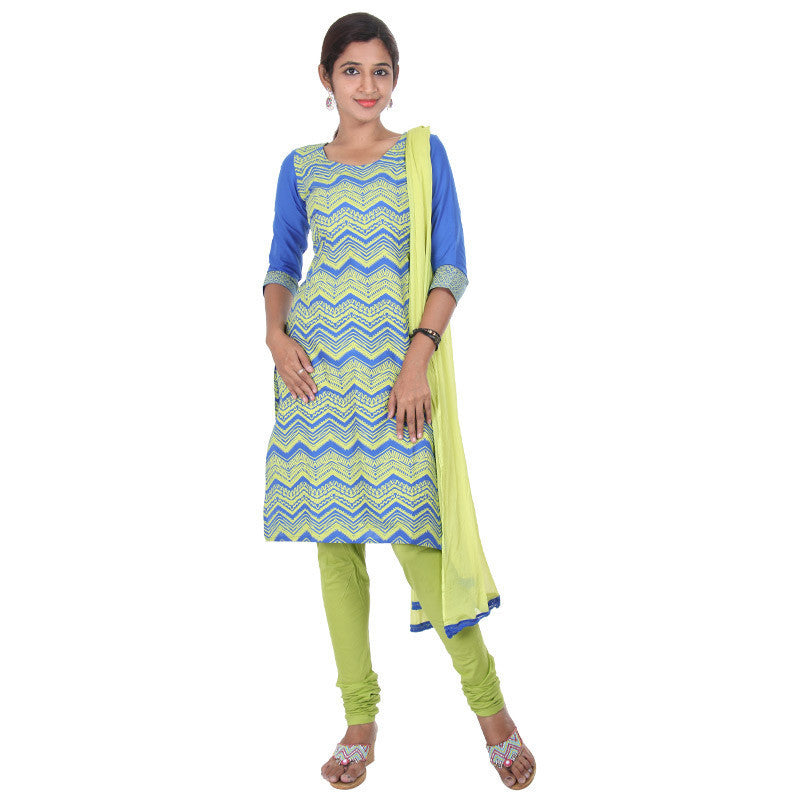 Scuba Blue With Light Green Charm Prints 3-Piece Cotton Suit From eSTYLe
