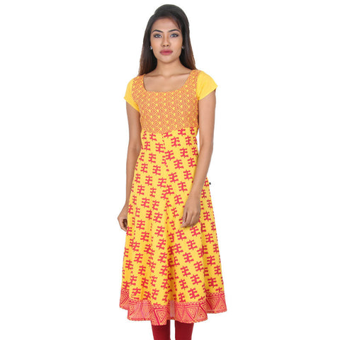Spectra Yellow Sartorial Prints Pure Rayon Anarkali From eSTYLe