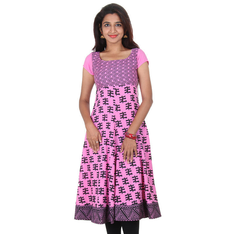 Azalea Pink Pure Rayon Wide Flared Anarkali...