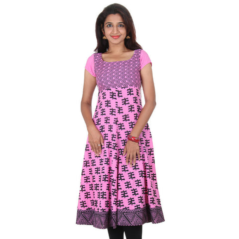 Azalea Pink Pure Rayon Wide Flared Anarkali From eSTYLe