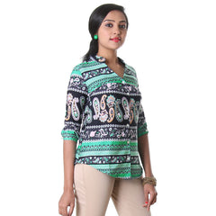 Peacock Green Buttoned Placket Modern Shirt From eSTYLe