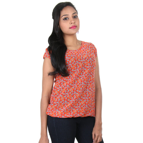 Tigerlily Orange Multi Colour Print Design Casual Top From eSTYLe