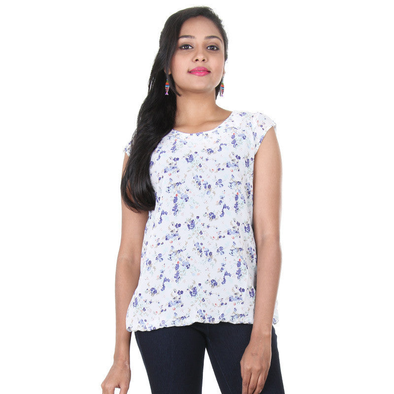 eSTYLe Cloud Dancer White Floral Print Desin Top