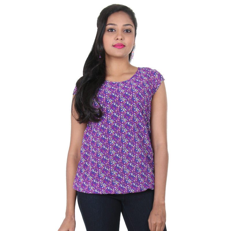 Clematis Blue Beautiful Printed Modern Top From...