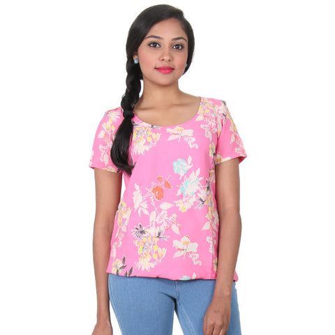 eSTYLe Sachet Pink Short Sleeves Cool Casual Top For Summer Wear