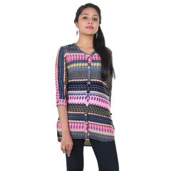 V-Collar Neck With Multi Colour Printed Shirt From eSTYLe