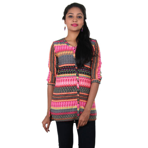 eSTYLe Full Buttoned Placket With Multi Colour Print Polyster Ethnic Style Shirt