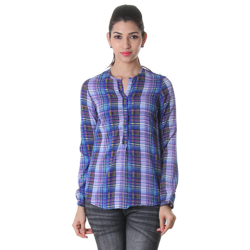 eSTYLe Round Neck Yarn Dyed Rayon Western Top