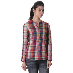 Placket Neck Yarn Dyed Rayon Western Top From eSTYLe