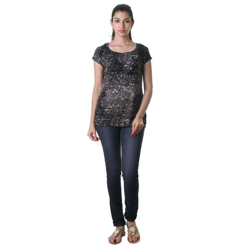 Jet Black Printed Stylish Top From eSTYLe