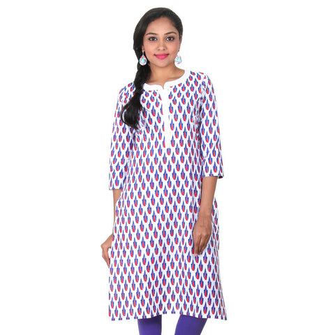 Bright White Mix With Blue & Red Colour Printed Design Pure Cotton Kurta From eSTYLe