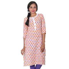 eSTYLe Bright White Mix Matching With Orange & Violet Printed Design Pure Cotton Kurta
