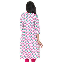 eSTYLe Bright White Mix & Match With Magenta And Green Colour Printed Design Cotton Kurta