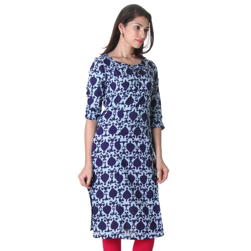 Blue Depths Floral Design Trendy Kurta From eSTYLe