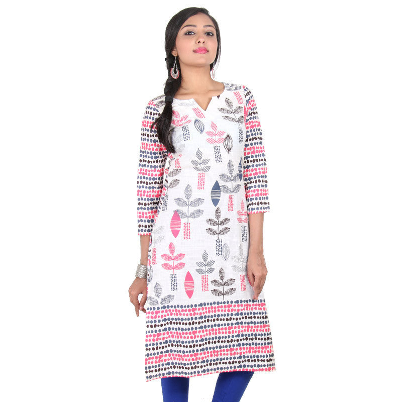 Snow White Three-Quarter Sleeves With Multi Colour Mixing Prints Slub-Cotton Kurta From eSTYLe