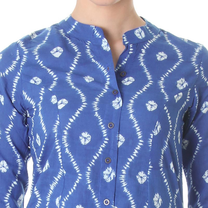 True Blue Buttoned Placket Cotton Kurta From eSTYLe