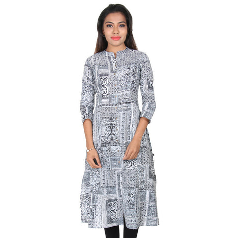 Black N' White Ethnic Charm Motifs A-Line Kurta From eSTYLe