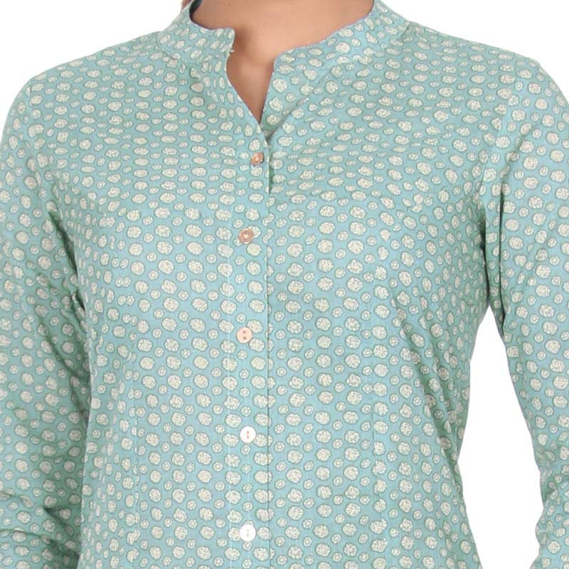 eSTYLe Mineral Green Mandarin Collar With Open-End Placket A-Line Kurta