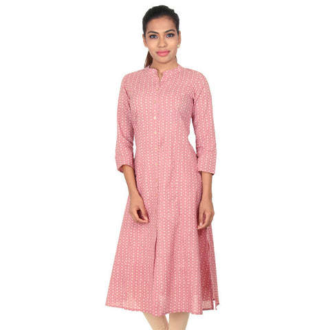 Dusty Rose Open-End Placket Pure Cotton A-line Kurta From eSTYLe
