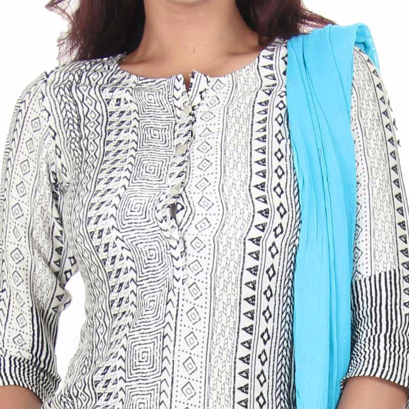 Horizon Blue Bordered Rayon Kurta With Contrast Legging & Dupatta From eSTYLe