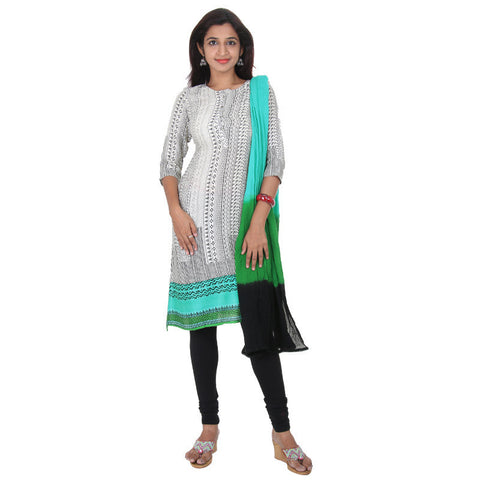 eSTYLe Ceramic Green Bordered Rayon Kurta With Matching Legging & Dupatta