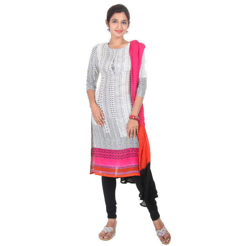 E Sty Le Dark Pink Bordered Rayon Kurta With...