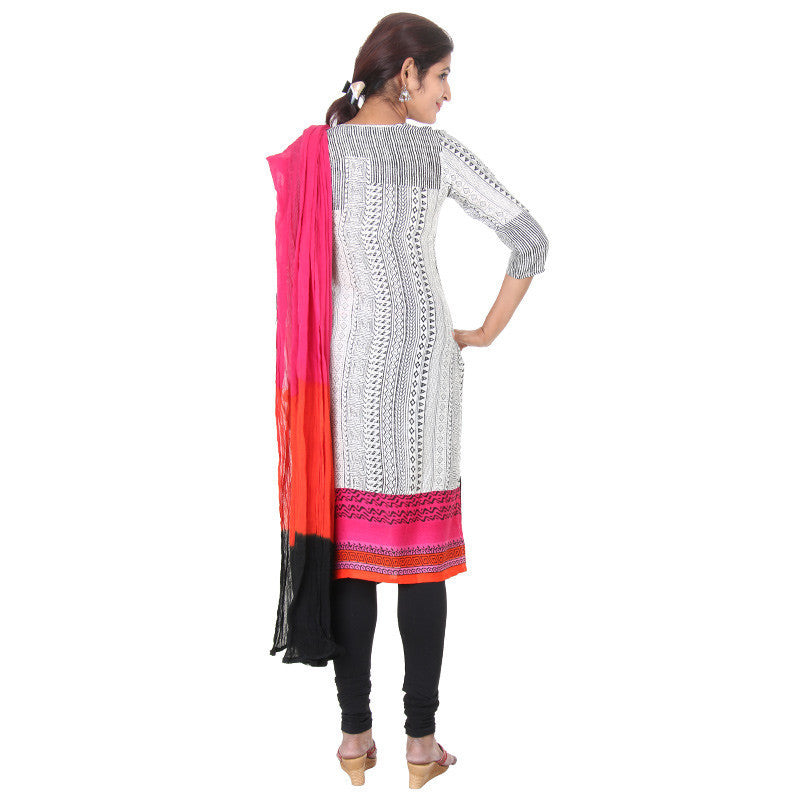 eSTYLe Dark Pink Bordered Rayon Kurta With Matching Legging & Dupatta