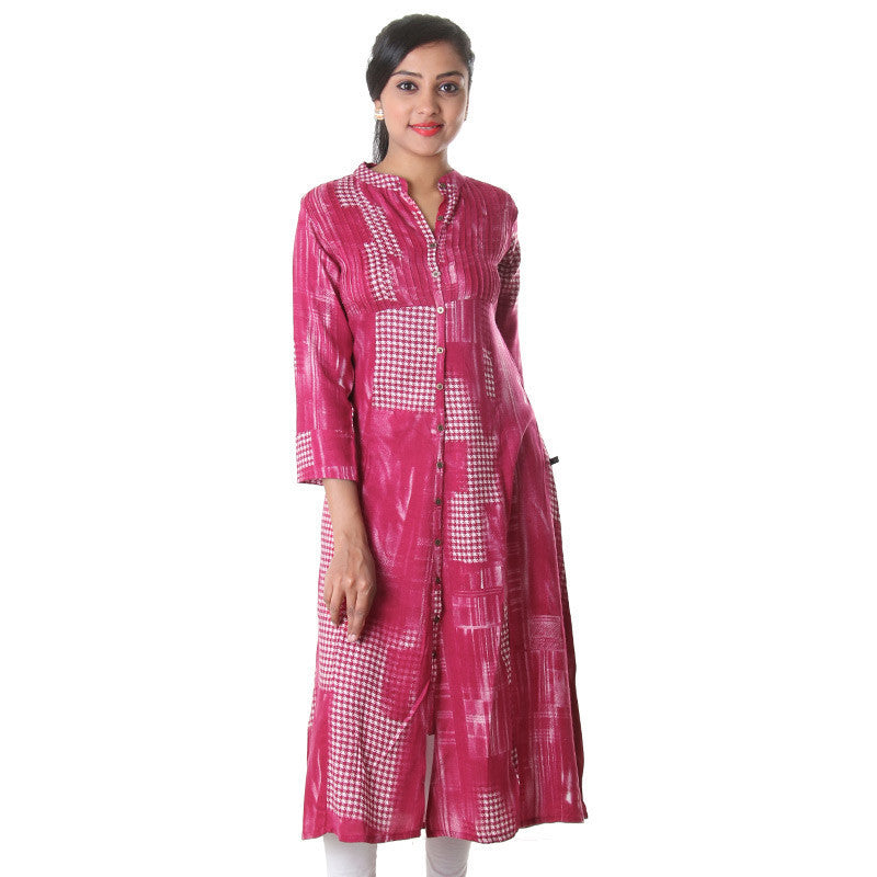 Persian Red Stand Collar Neck Printed Rayon...