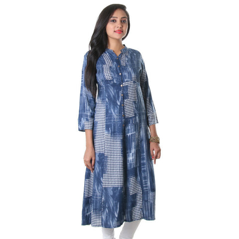 eSTYLe True Navy Stylish Opened Placket Printed Rayon Kurta