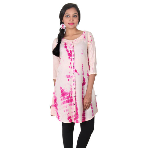 Beige With Bright Rose Colour Printed Rayon Trendy Tunic From eSTYLe