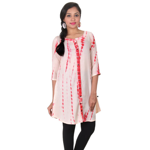 eSTYLe Beige With Light Red Mandarin Collar Printed Rayon Casual Tunic
