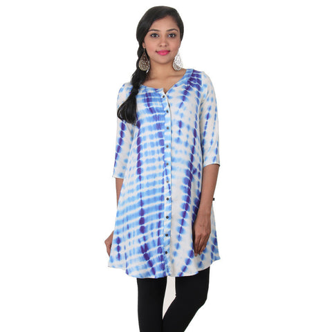 Beige With Deep Blue Buttoned Placket Printed Rayon Tunic From eSTYLe