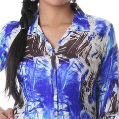 Dazzling Blue Shirt Collar Modern Printed Rayon Kurta From eSTYLe