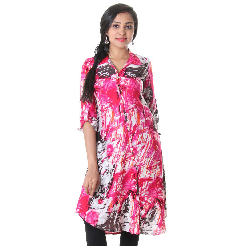 eSTYLe Bright Rose Buttoned Placket Printed Rayon Kurta