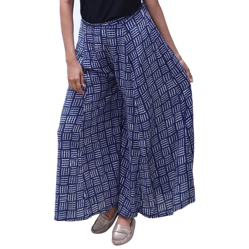 Estate Blue Printed Rayon Palazzo Pants