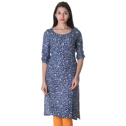 eSTYLe Blue Depths Printed Design With Buttoned Placket Rayon Kurta