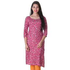 Raspberry Wine Pleated Cuff 3/4th Sleeves Rayon Kurta From eSTYLe