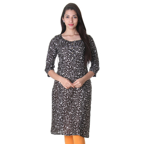 eSTYLe Black Coffee Trendy Floral Printed Design Rayon Kurta