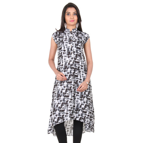 Pirate Black Buttoned Placket Asymmetric Kurta From eSTYLe