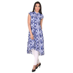 Indigo Blue Mandarin Collar eSTYLe Kurta With Placket