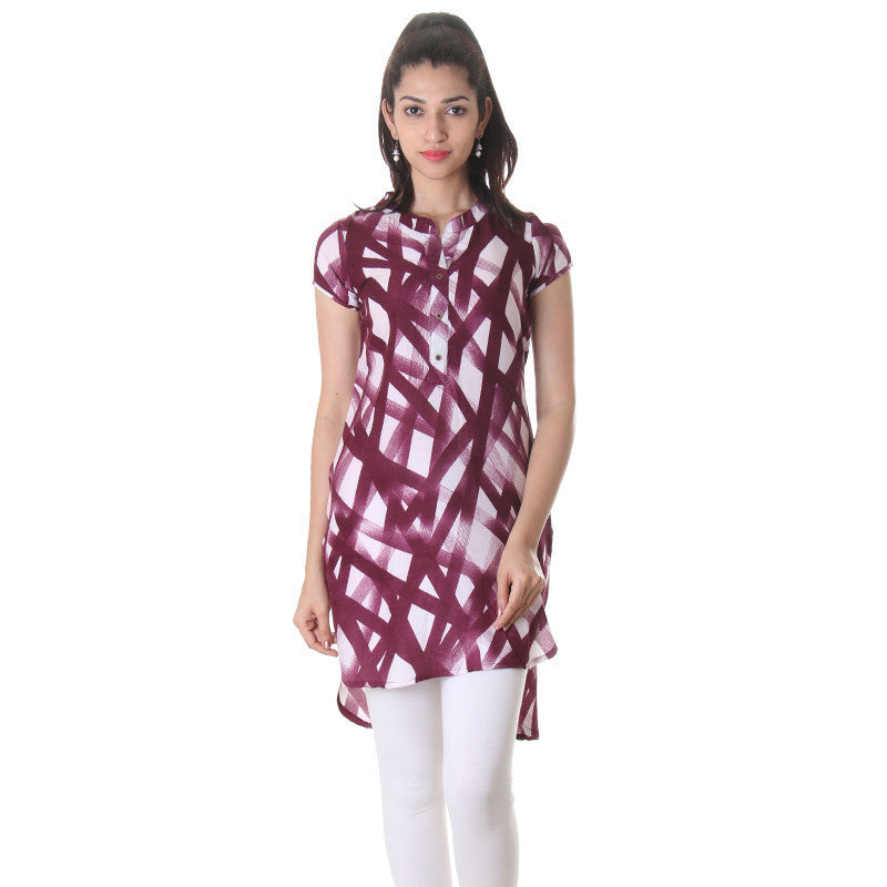 Grape Wine Stand Collar With Open Placket Rayon...