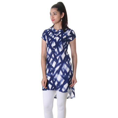 Twilight Blue Short Sleeve Printed Rayon Modern Tunic Top From eSTYLe