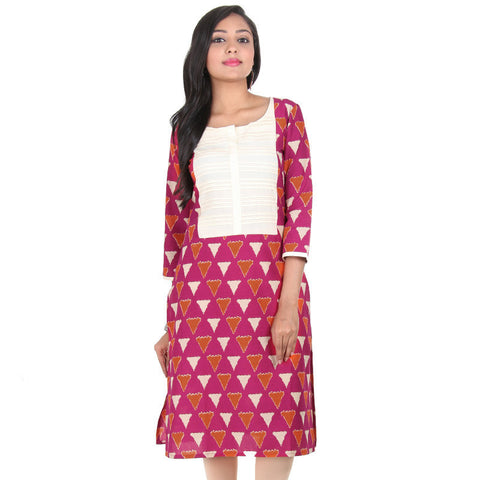 Beetroot Purple With Sandal Colour Horizontal Pin-Tuck Yoke Pure Cotton Kurta From eSTYLe
