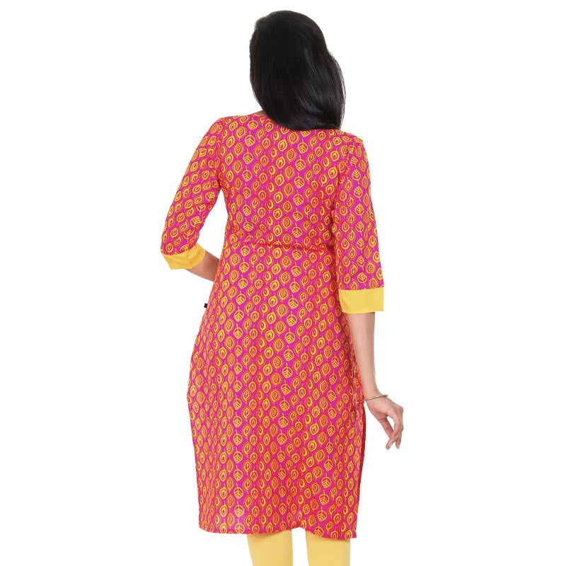 Raspberry Sorbet & Daffodil Yellow All Over Leaf Prints Pure Cotton Smarty Kurta From eSTYLe