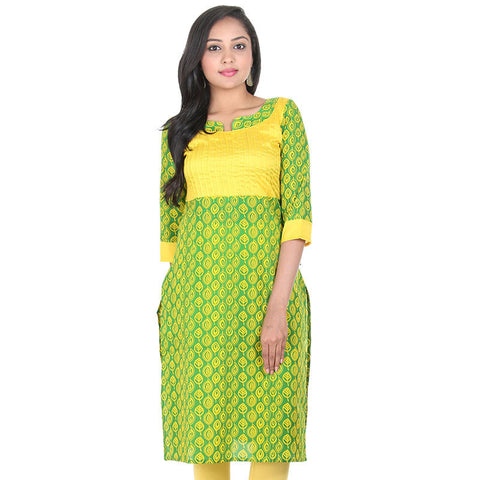 Jelly Bean Green Bound Finished Neck-Line With Boat Style Neck Pure Cotton Kurta From eSTYLe